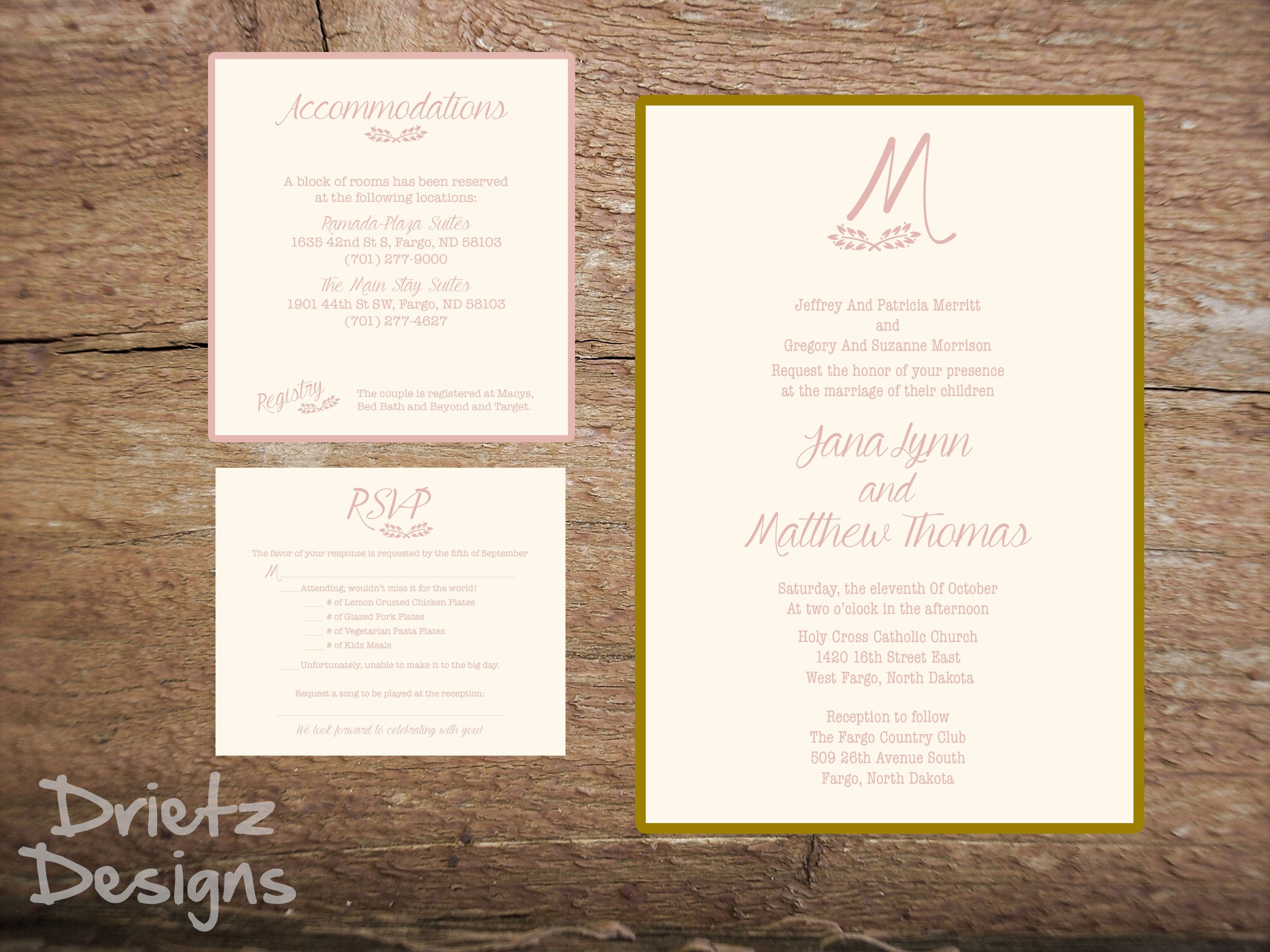 bridal shower invitations registry etiquette%0A Pink and Gold wedding invitation  can be custom made for your wedding   Feel free