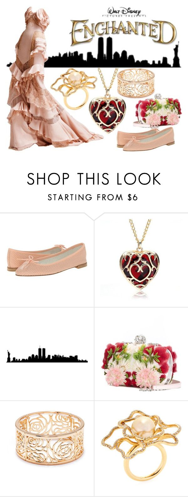 """""""Enchanted"""" by janastasiagg ❤ liked on Polyvore featuring Repetto, Disney, Alexander McQueen, Versace, Forever 21, Giovane, disney, disneybound and Disneyprincess"""