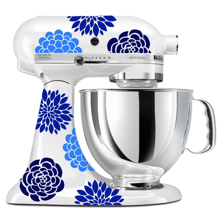 Blue flower mixer decals floral kitchenaid stand up