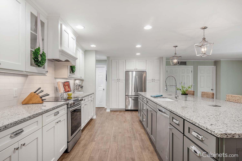 Shaker ii maple bright white gray cabinets pinterest kitchens