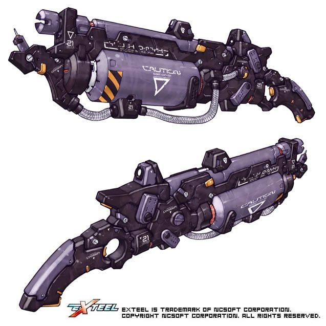 Weapon Design From Exteel The Fast Paced 3d Sci Fi Mmo Shooter 銃器 銃 兵器コンセプトアート