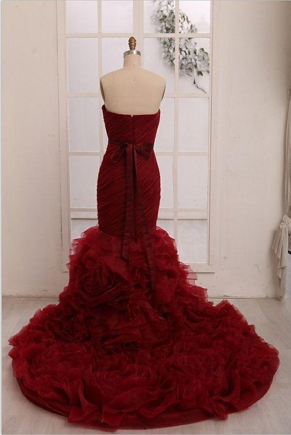 Red Burgundy Organza Mermaid Dress
