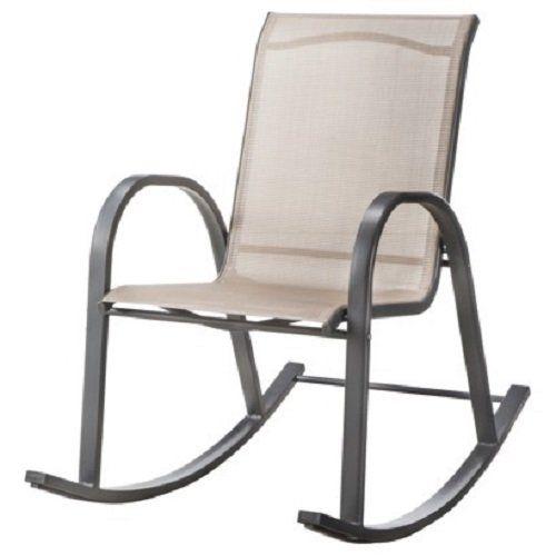 Beau Room EssentialsTM Nicollet Sling Patio Rocking Chair   Tan, Lawn Garden  Outdoor Yard Veranda Furniture