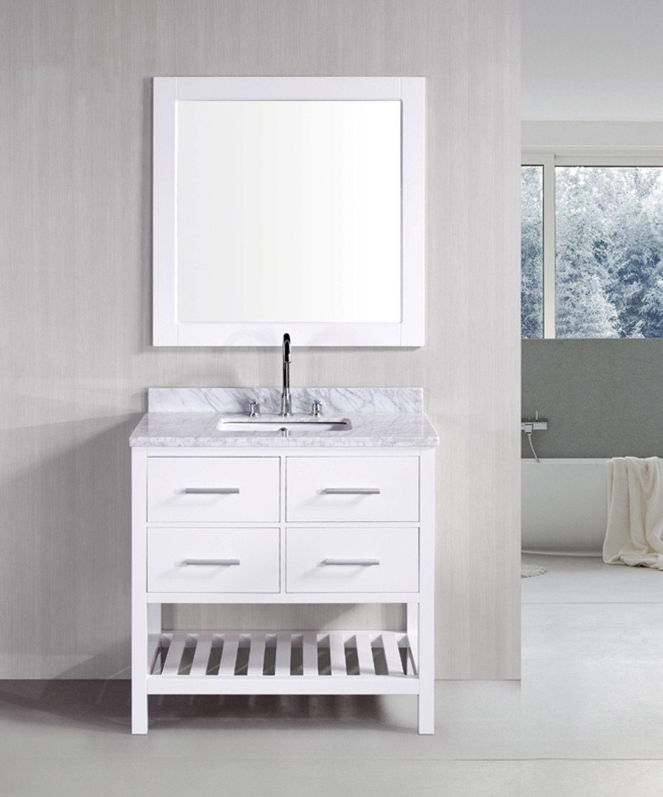 "London 36"" Single Sink Vanity Set In White  Products  Pinterest Custom Design Element Bathroom Vanity Design Ideas"