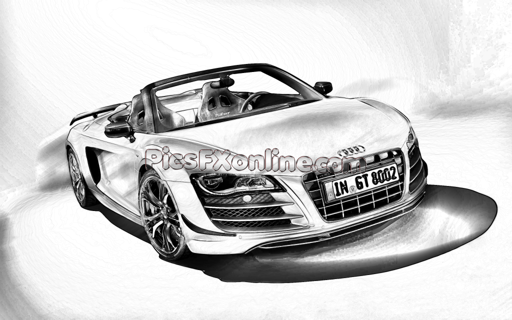Audi R8 Spyder black and white drawing effect | Drawings ...