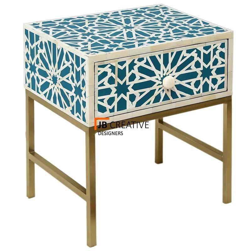 Bone Inlay Bedside Table Nightstand Handmade Furni