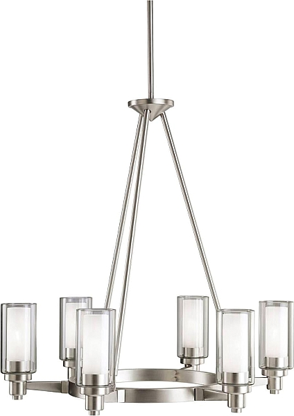 Kichler 2344ni chandelier 6lt in brushed nickel chandelier kichler chandelier fixture model kichler chandelier in brushed nickel contemporary from the nickel steel finishes group in brushed nickel mozeypictures Image collections