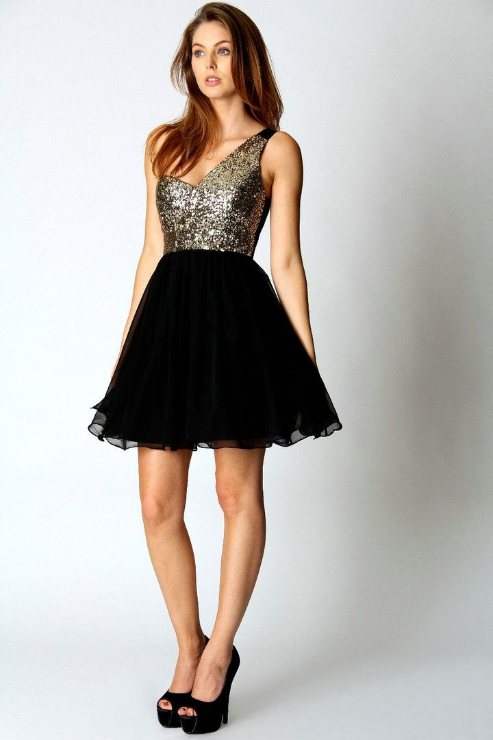 One Shoulder, Glitter Bodice, Full Black Skirt, Above Knee | 18th ...