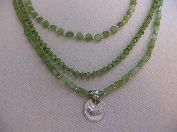 Peridot Necklace with Lotus Blossom Pendant by centerofbalance, $60.00