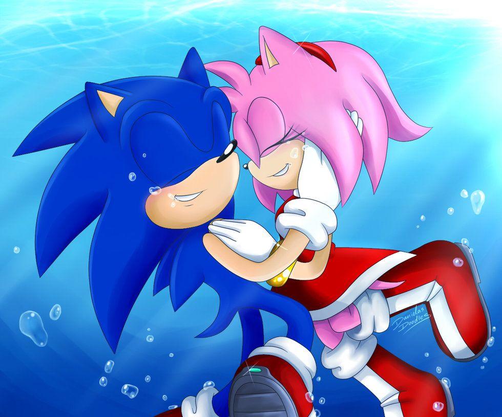 Sonamy Underwater By Danielasdoodles Deviantart Com On Deviantart Sonic And Amy Sonic Art Sonic