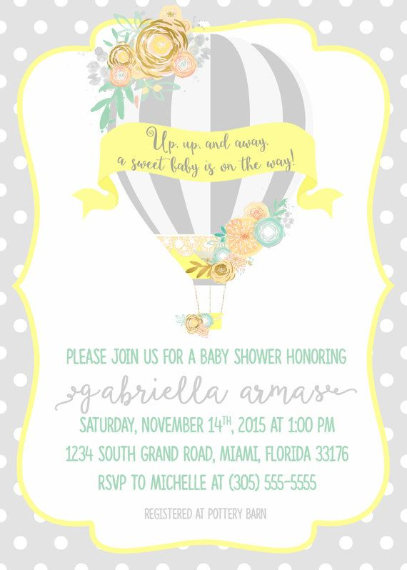 Hot Air Balloon Baby Shower Invitation Gray Yellow And Teal