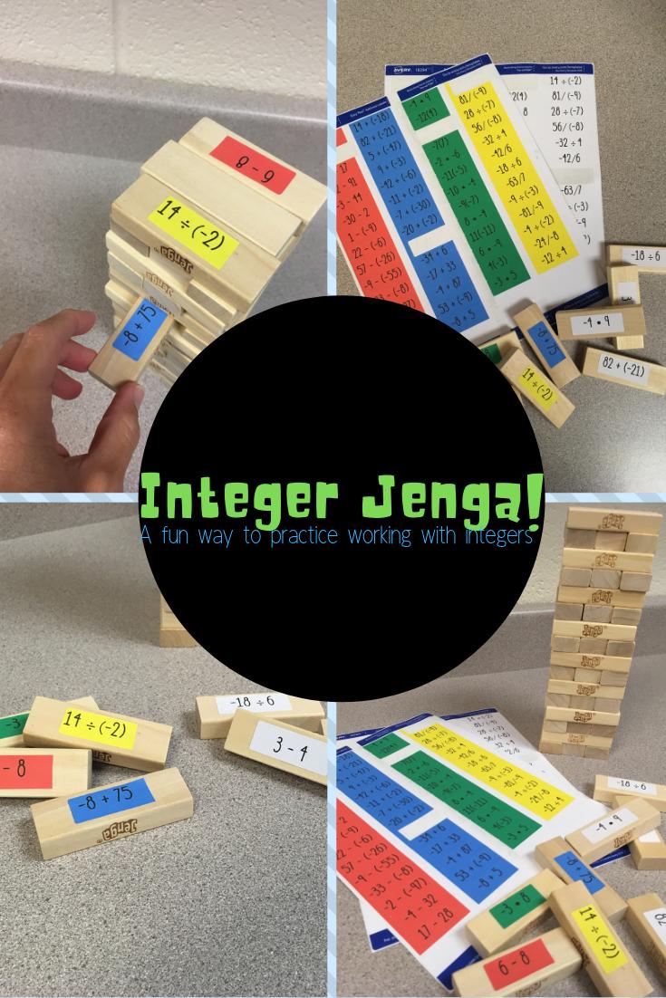 Integer Operations Jenga Integer Operations Jenga Math Activities