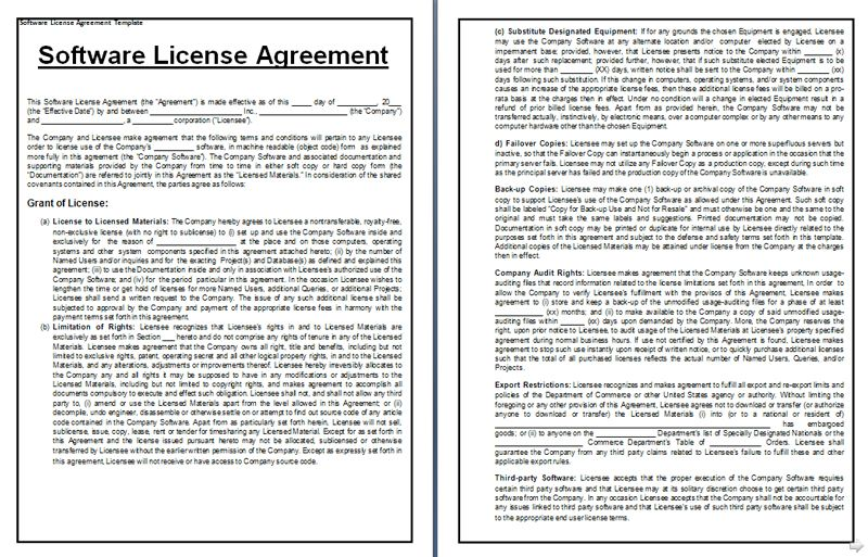 Software License Agreement Template Vendor Oriented Software