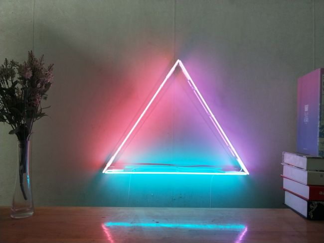 Equilateral Triangle Custom Dimmable Led Neon Signs For Wall Decor Customization Options Color Size Dimming Wall Mounted Desktop Type Hanging In A Window In 2020 Neon Sign Bedroom Wall Decor Bedroom