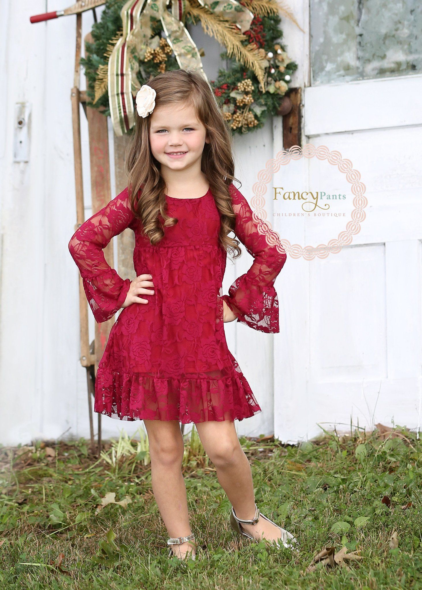 Rustic wedding flower girl dresses  Burgundy Boho Chic Lace Dress  Vintage flower girl dresses Country