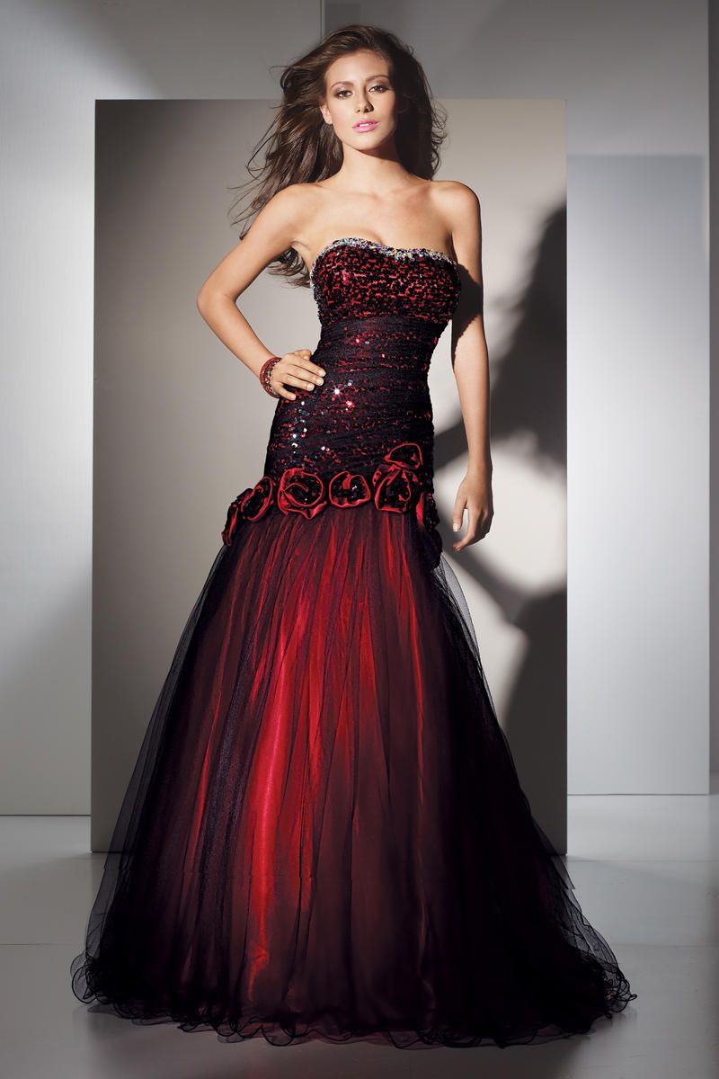 Dark Red Strapless Gown fashion dress red prom formal gown sequin ...