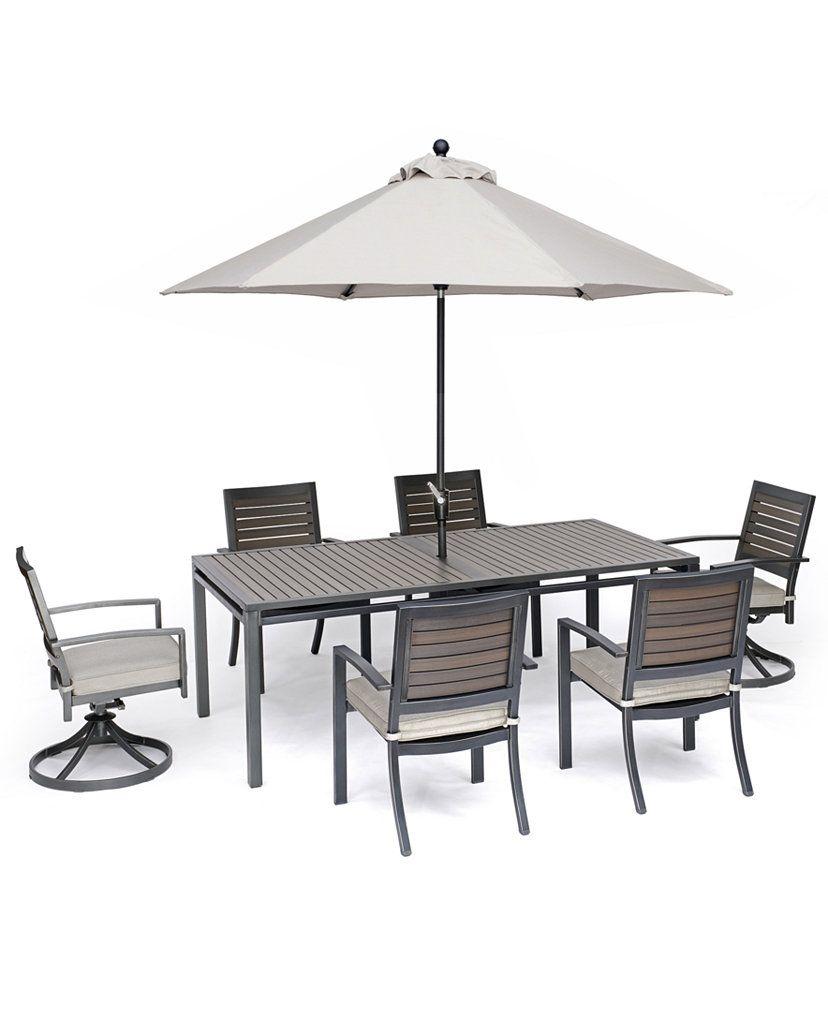 Furniture Marlough Ii Outdoor Aluminum 7 Pc Dining Set 84 In