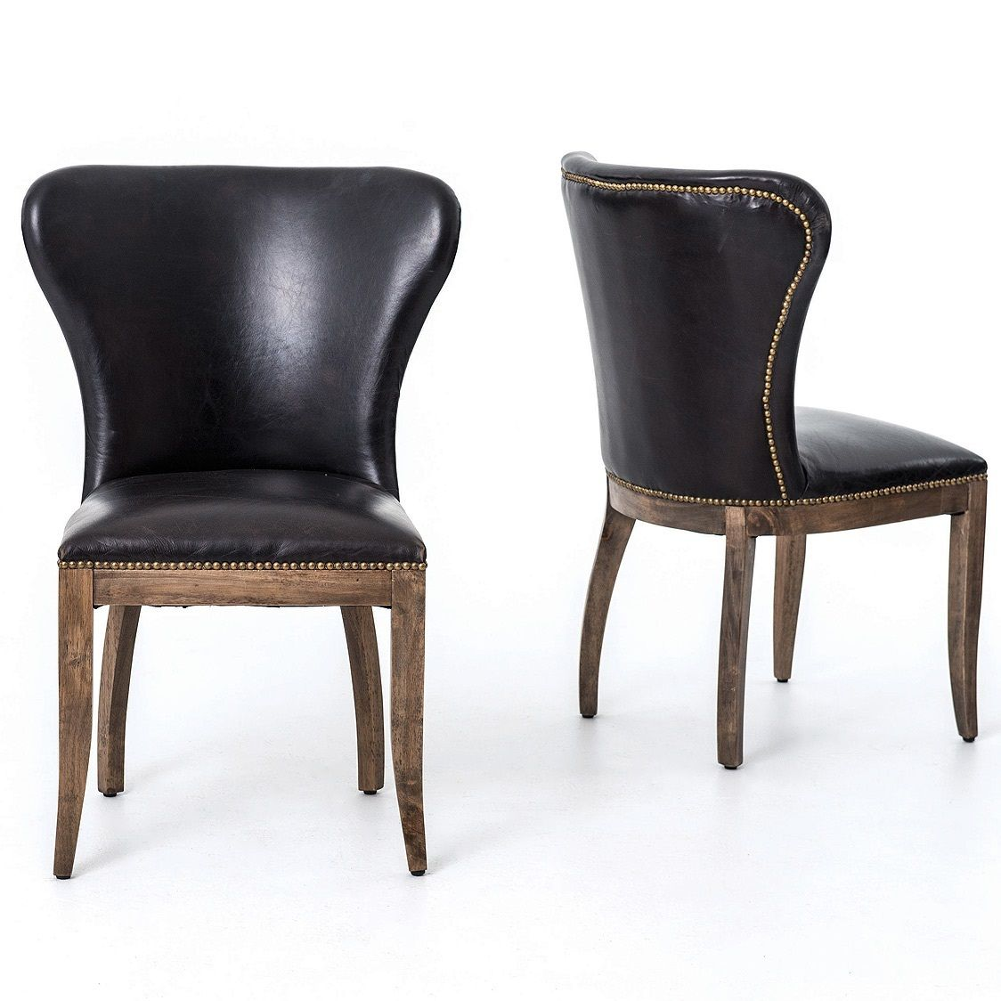Richmond Black Leather Wingback Dining Chair Black Leather