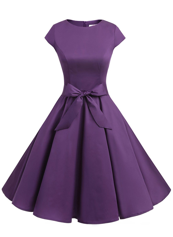 50s Rockabilly Style Cap Sleeves Purple Retro Swing Dress With Bowknot Retro Swing Dresses Vintage 1950s Dresses Cap Sleeve Prom Dress [ 1500 x 1100 Pixel ]