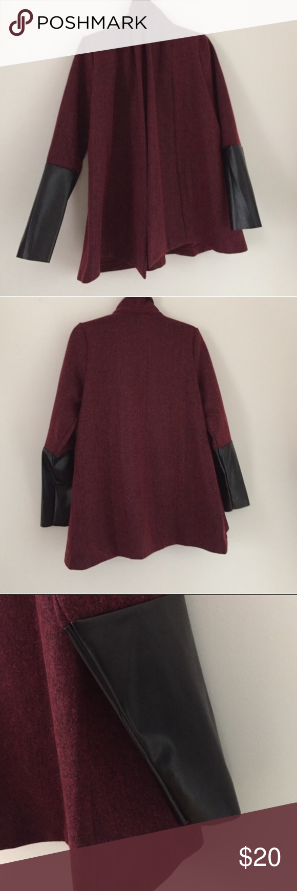 Burgundy faux leather sleeve jacket By Vanessa Williams