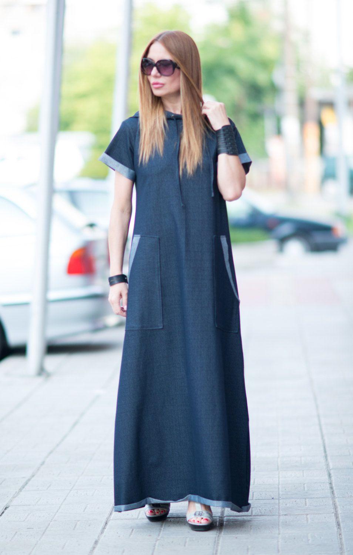 Urban casual navy blue denim cotton dress long hooded dress