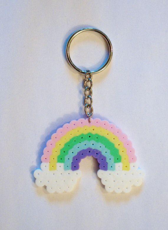 Pastel RAINBOW with CLOUDS // Kawaii Perler by RainbowMoonShop