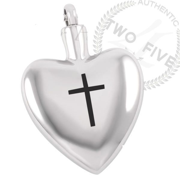 #5 Cross & Heart Cremation Jewelry Pendant Memorial Urn Necklace