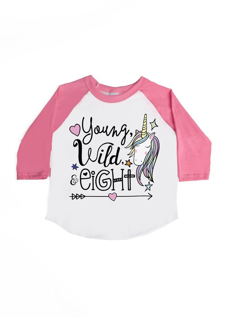 Young Wild And Eight Unicorn Themed Birthday Tee Super Adorable For Your Little 8 Year Old Lover Grab Free Shipping Use Code