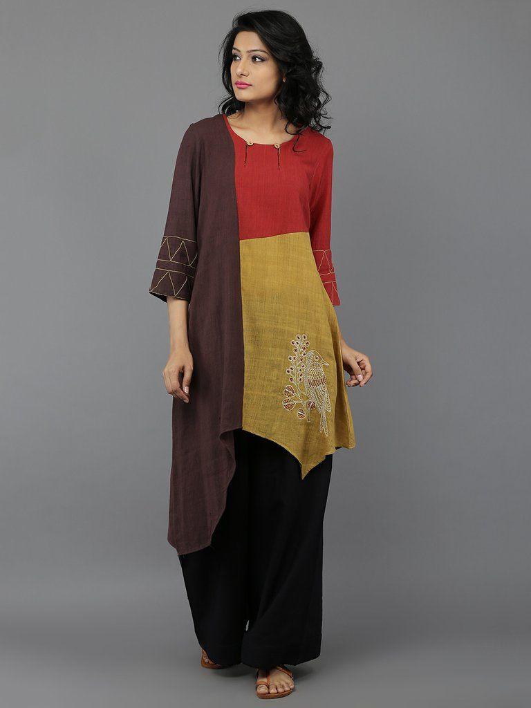 Yellow Brown Red Embroidered Khadi Kurta (Kurtha Top Design) | Kurti ...