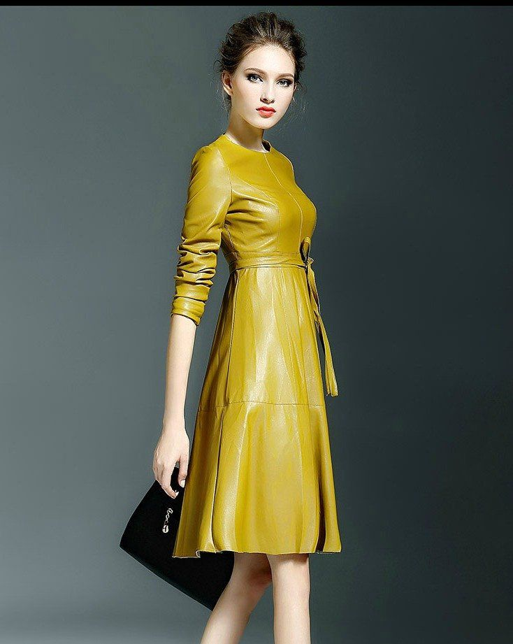 254e232d00b9 Yellow Winter Long Sleeve Faux Leather Fashion Trendy Belted Midi Dress