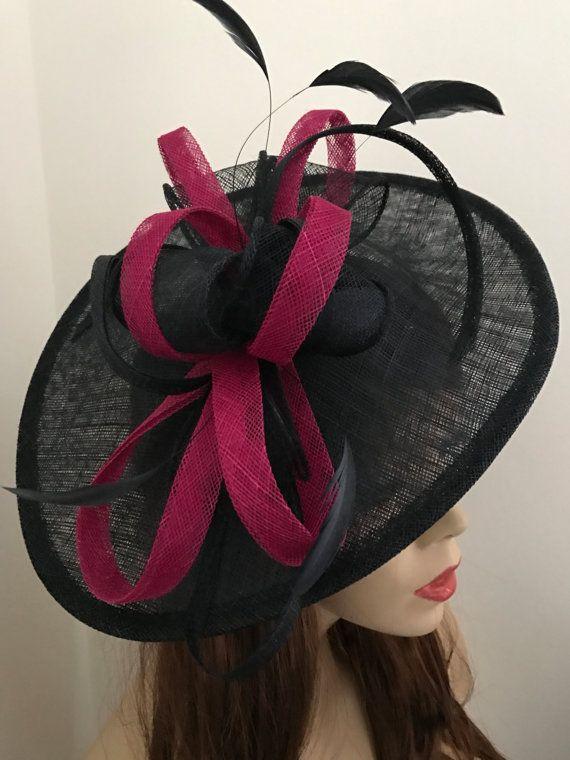 Fascinator Saucer Hat Navy Blue Fushia pink hatinator  b4c3c7d7fc5