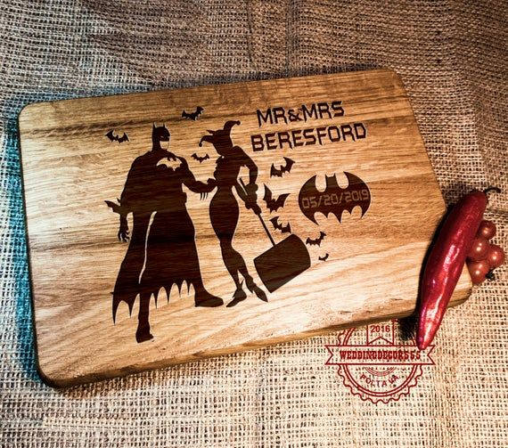 Batmen and Harley wedding gift / Cutting Board Batmen wedding / superhero gift #superherogifts