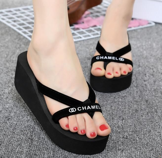 678d3507a88c9d Women s Flip Flops High Heel Slippers Platform Summer Wedge Beach Sandals   CHAMEL!! LOVE THE CHAMEL S!! In Casablanca