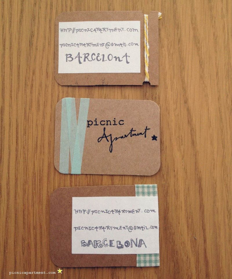 Picnic Apartment handmade Business cards - My new business cards ...