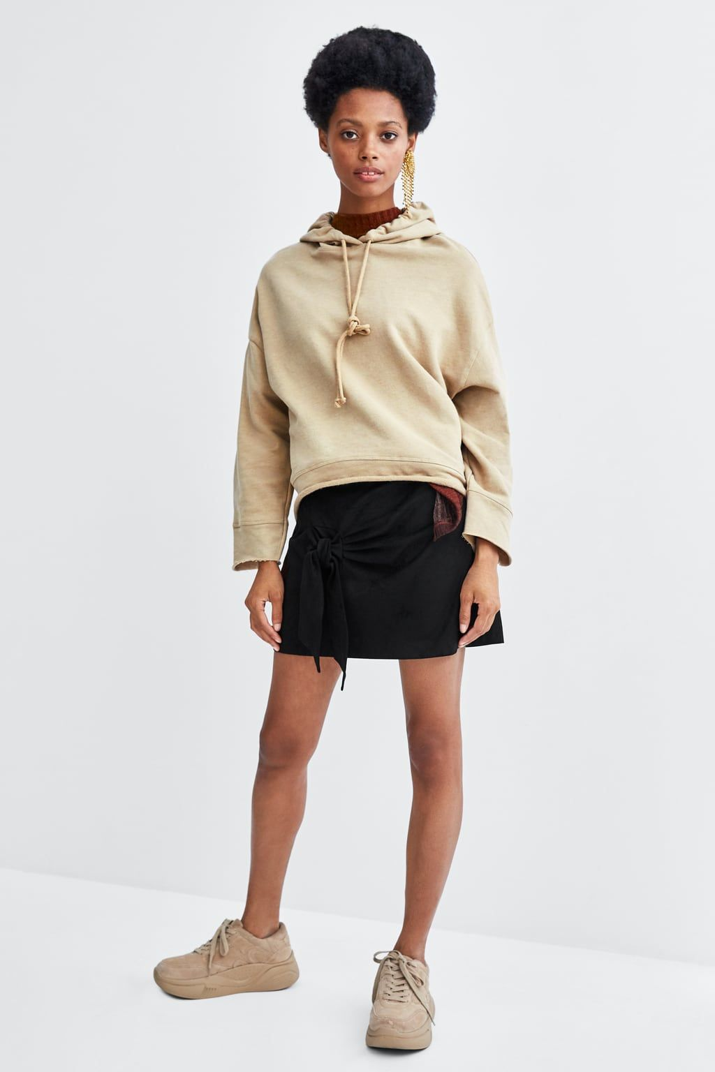 1e516fc3c514 Image 1 of FAUX LEATHER SKIRT WITH KNOT from Zara | Spring 2018 in ...