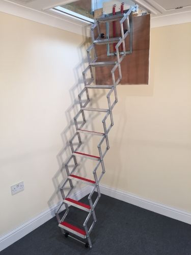 Insulated Floor Loft Ladder Space-Saver Folding Stairs Many Sizes Handrail