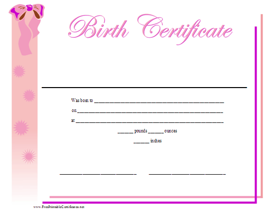 a printable birth certificate for a baby girl featuring a ribbon and pretty pink design free to download and print