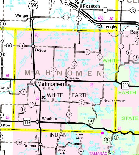 Minnesota State Highway Map of the Mahnomen County area Mpls