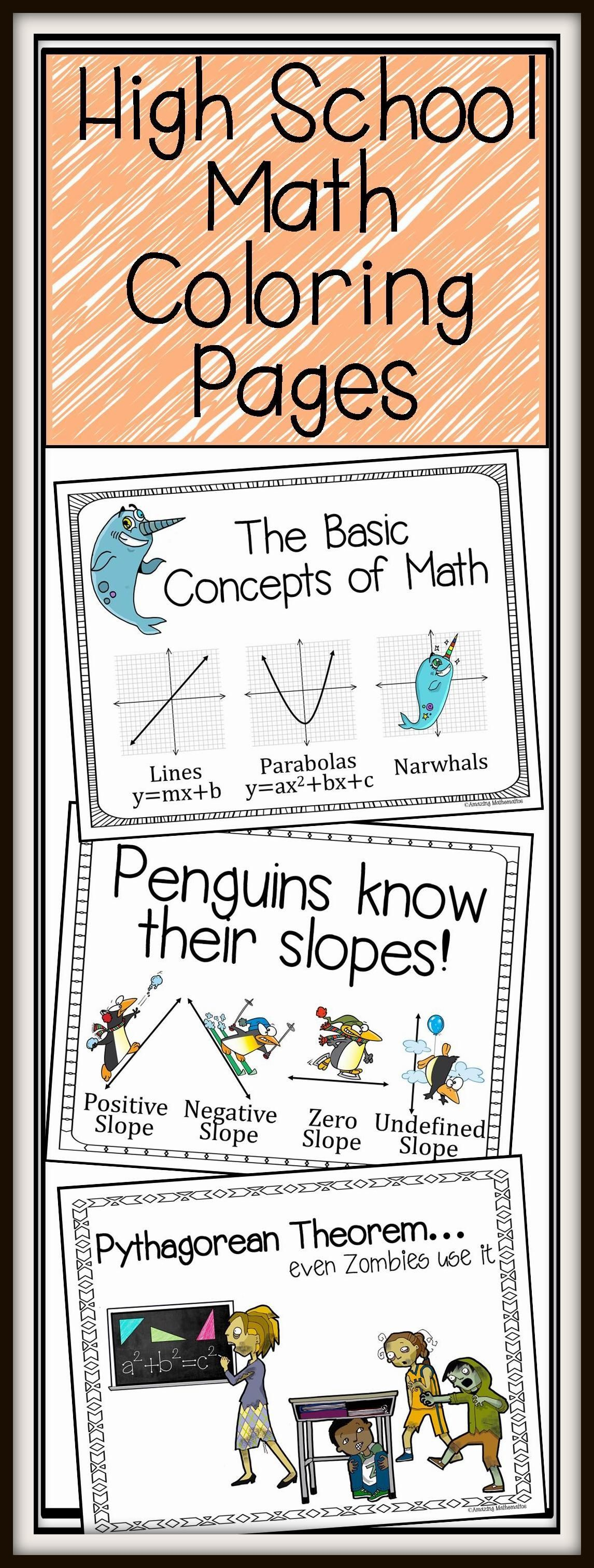 Secondary Math Fun Coloring Pages