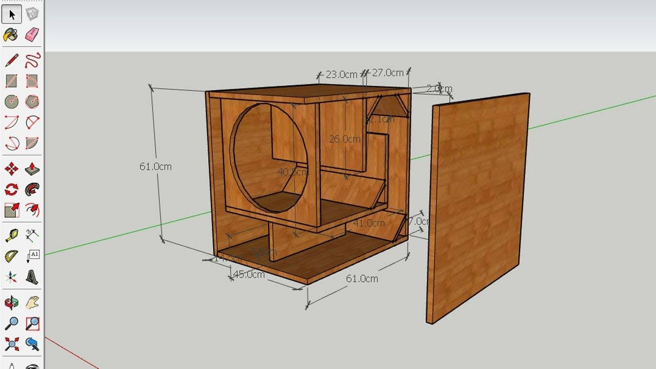How To Design Subwoofer Box 15 Inches Speaker In Sketchup Pro Subwoofer Box Design Subwoofer Box 15 Inch Subwoofer Box