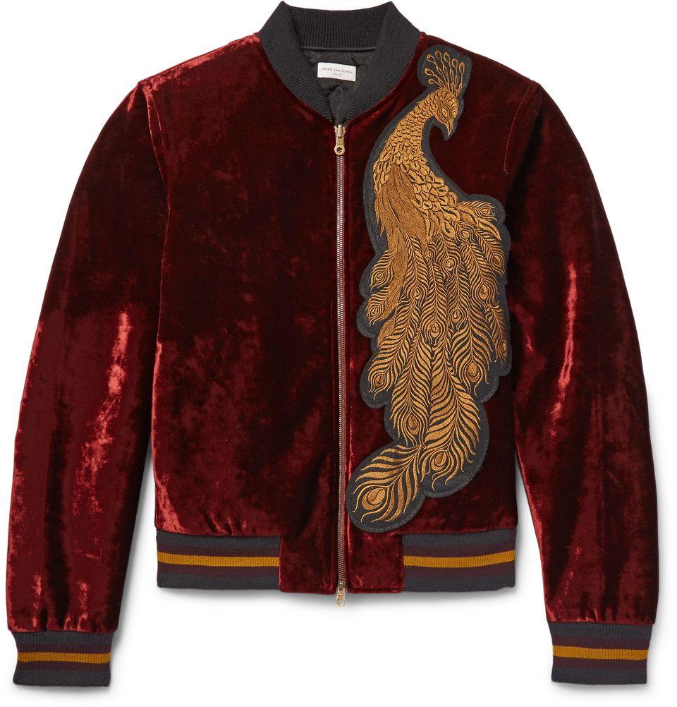 Dries Van Noten Reversible Appliqued Velvet And Quilted Satin Bomber Jacket Mens Designer Coats Quilted Jacket Men Satin Bomber Jacket [ 1002 x 960 Pixel ]