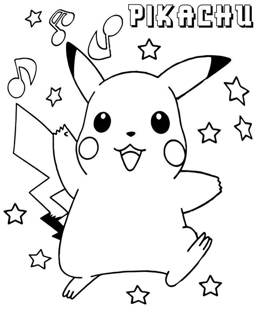 Easy printable coloring book drawing pikachu  Pikachu coloring