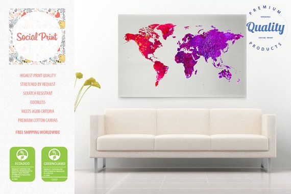 Red purple watercolor world map canvas print free shipping home red purple watercolor world map canvas print free shipping home decor world map gumiabroncs Images
