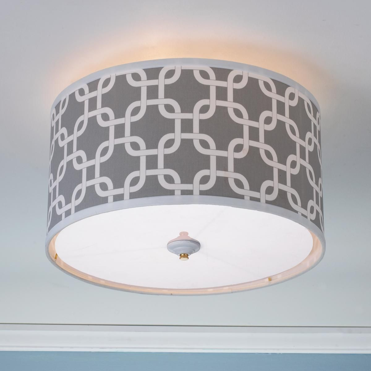 Large Drum Ceiling Fan: Geometric Fretwork Drum Shade Ceiling Light