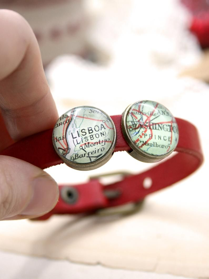 Custom map red leather bracelet personalized mothers day