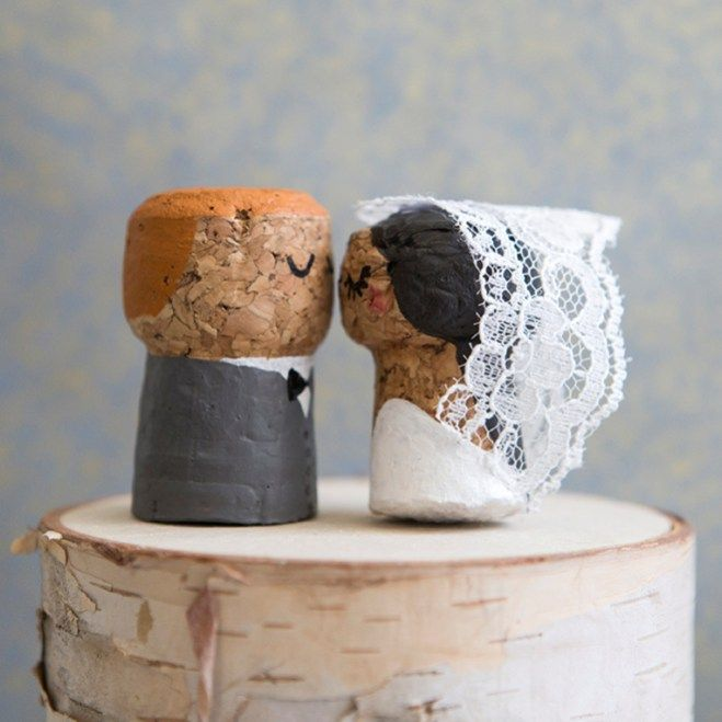 Cork Crafts For Weddings: You HAVE To See These DIY, Painted Champagne Cork Bride