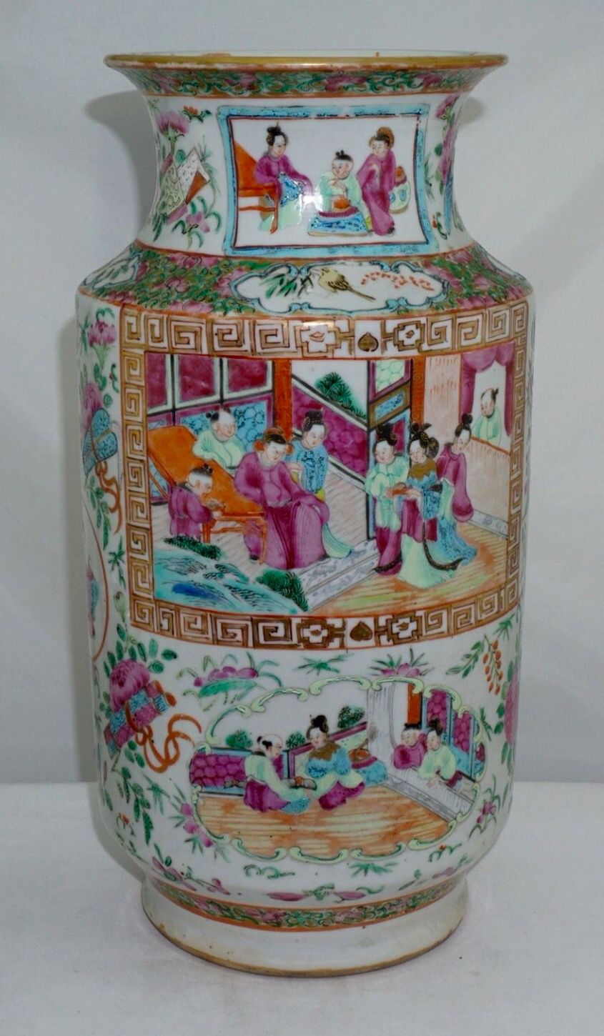 Large Antique Chinese Export Canton Porcelain Gilt Famille Rose Vase 19th Chinese Porcelain