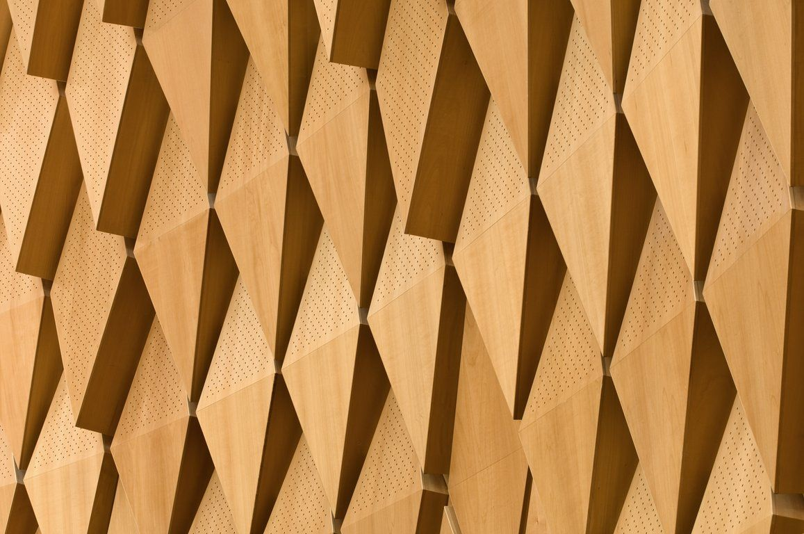 Courtroom acoustic panel detail timber pattern Pinterest