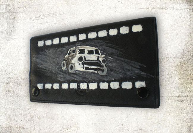 "New to ArtyBeezzz on Etsy: Black leather tobacco pouch - mini cooper -men unisex gift - hand painted- white black design-space for paper filters money:""Mini cooper"" (25.00 EUR)"