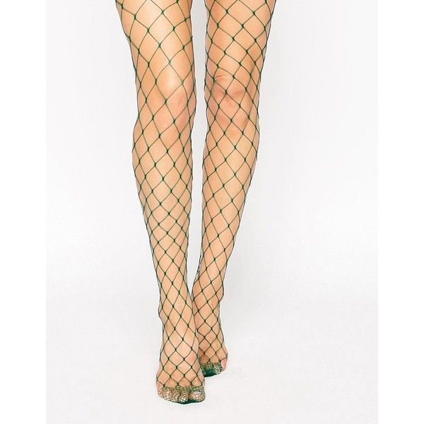 What green fishnet pantyhose